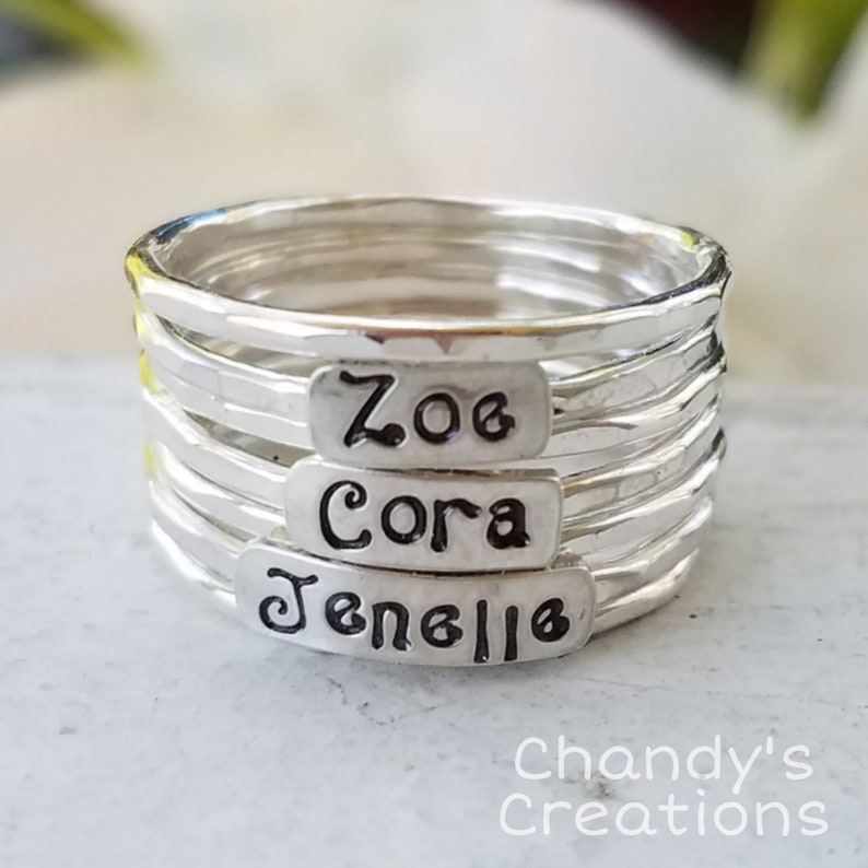 0632a84a541a6 3mm-Sterling-Silver-Mother's-Ring-Stackable-Children-Name-Rings-Band-Customized-Thumb-Pinky-Hammered-Beaded-Spacers-Set-Fancy-Font