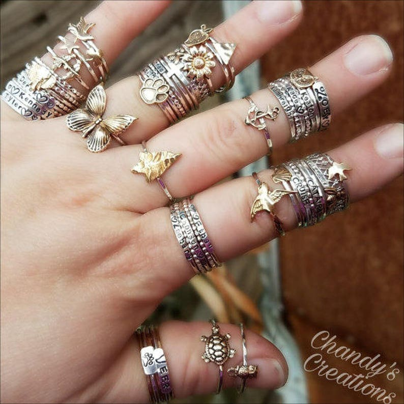Queen-Bee-Ring-Sterling-Silver-Stackable-Rings-Beekeeper-Gift-Layered-Customized-Band-Crown-Bumble-Honey-Princess-Tiny-Simple-Pinky-Thumb