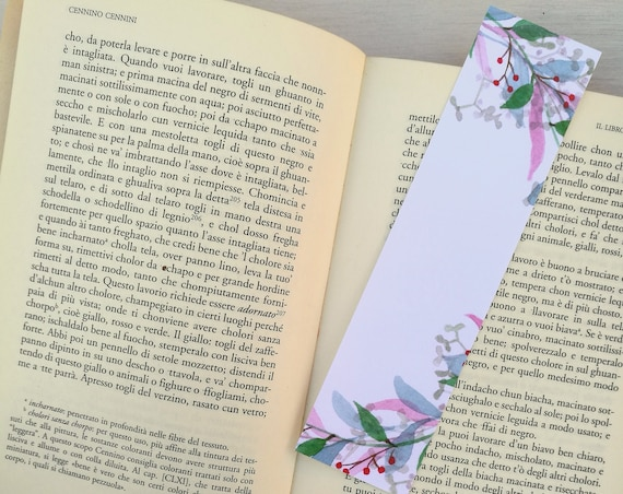 Bookmark printed leaves wreaths, watercolor, paper bookmarks, custom bookmarks, wedding Favors