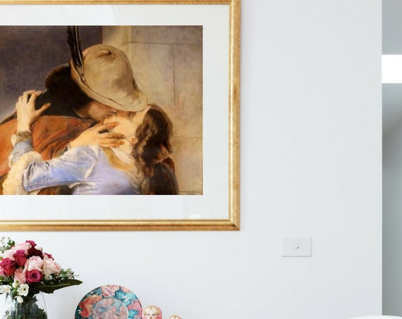 """Reproduction of pencils on paper, hand painted, Custom art, copy in pencil-reproduction of famous pictures (""""The Kiss"""" by Francesco Hayez)"""