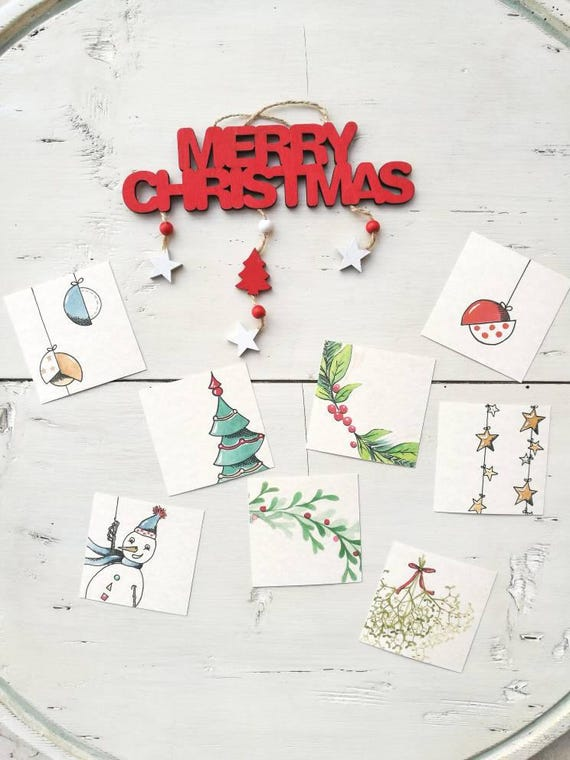 Kit 8 Christmas Tags-tag with hole and lanyard mixed fantasies 8 x 8 cm
