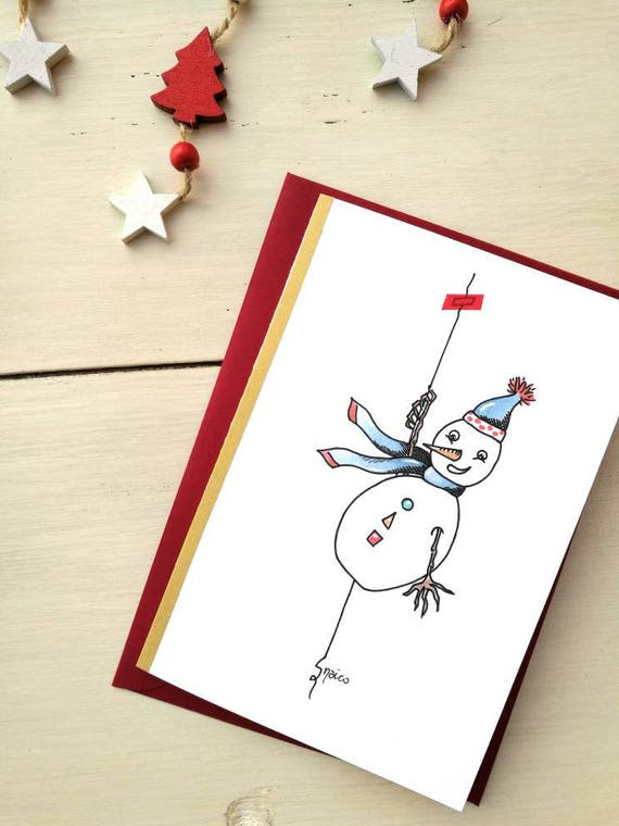 Christmas card, greeting card, personalized ticket, watercolor, Christmas cards-snowman