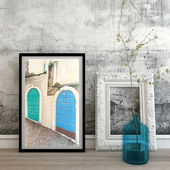 Personalized watercolor, hand painted, original watercolor, watercolor painting-landscape/Alleys #2-Gargnano (Lake Garda)