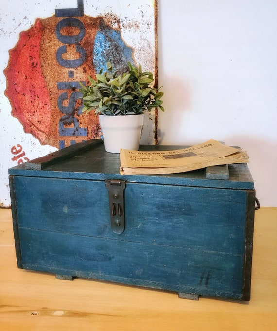 Vintage Wood case, case cover, blue case, with iron handles, wooden trunk