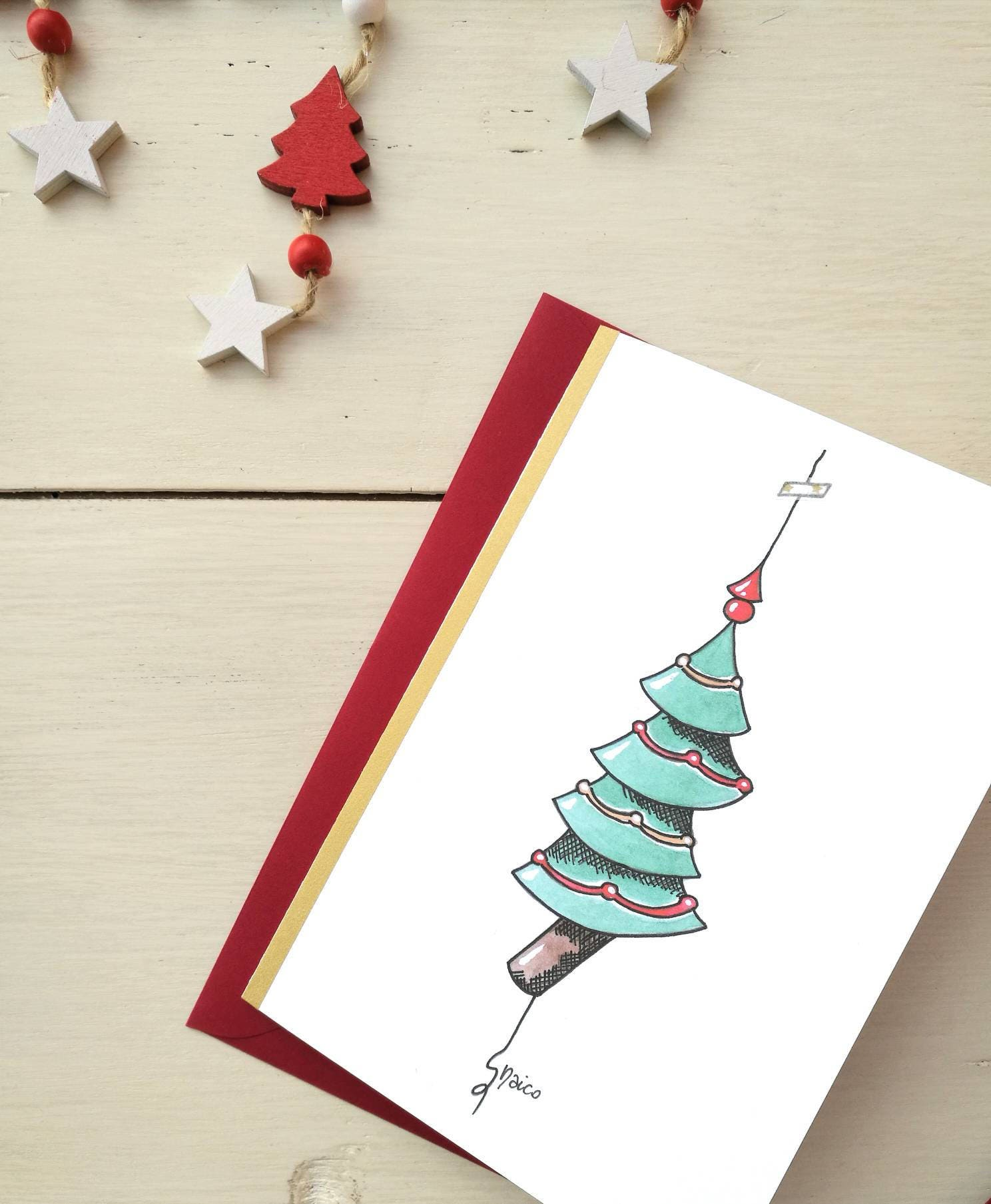 Christmas card greeting card personalized ticket watercolor christmas card greeting card personalized ticket watercolor christmas card tree 1 m4hsunfo