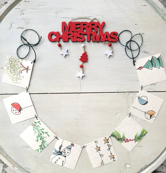 Personalized watercolor, hand painted, custom art, small tags, small paintings, Tag, labels-Garland of Christmas souvenirs
