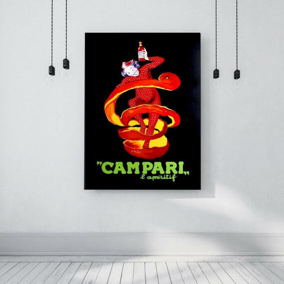 Reproduction on board, acrylic painting, hand painted, vintage advertising-Campari Manifesto