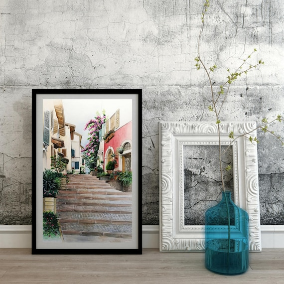 Personalized watercolor, hand painted, original watercolor, watercolor painting-landscape/Alleys #1-Gargnano (Lake Garda)
