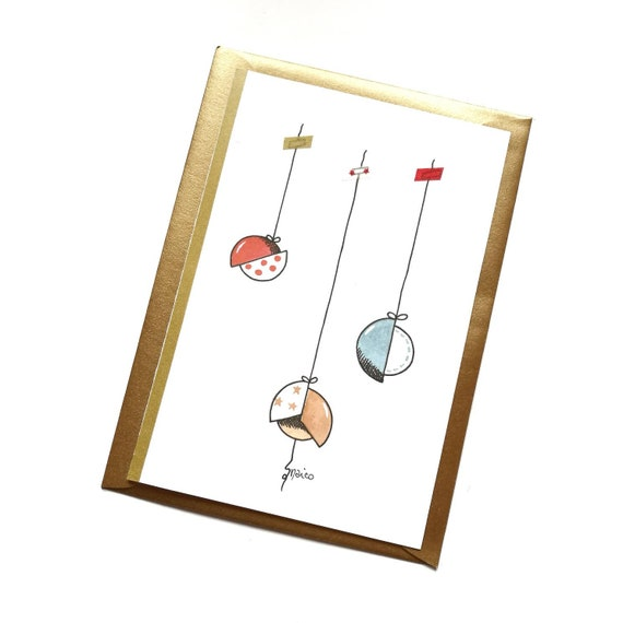 Christmas card, greeting card, personalized ticket, watercolor, Christmas card-Christmas balls