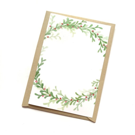 Christmas card, greeting card, personalized card, watercolor, Christmas card, dedication/personalized phrase-garland #4