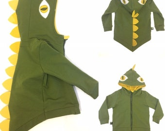 1a27a447d Dino hoodie on zip. kids, little girl, boy, long, size, long sleeve