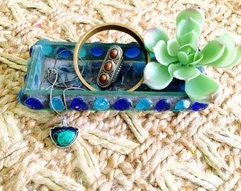 Vintage Sea Glass Mosaic Tray 70's Bohemian Glass Art