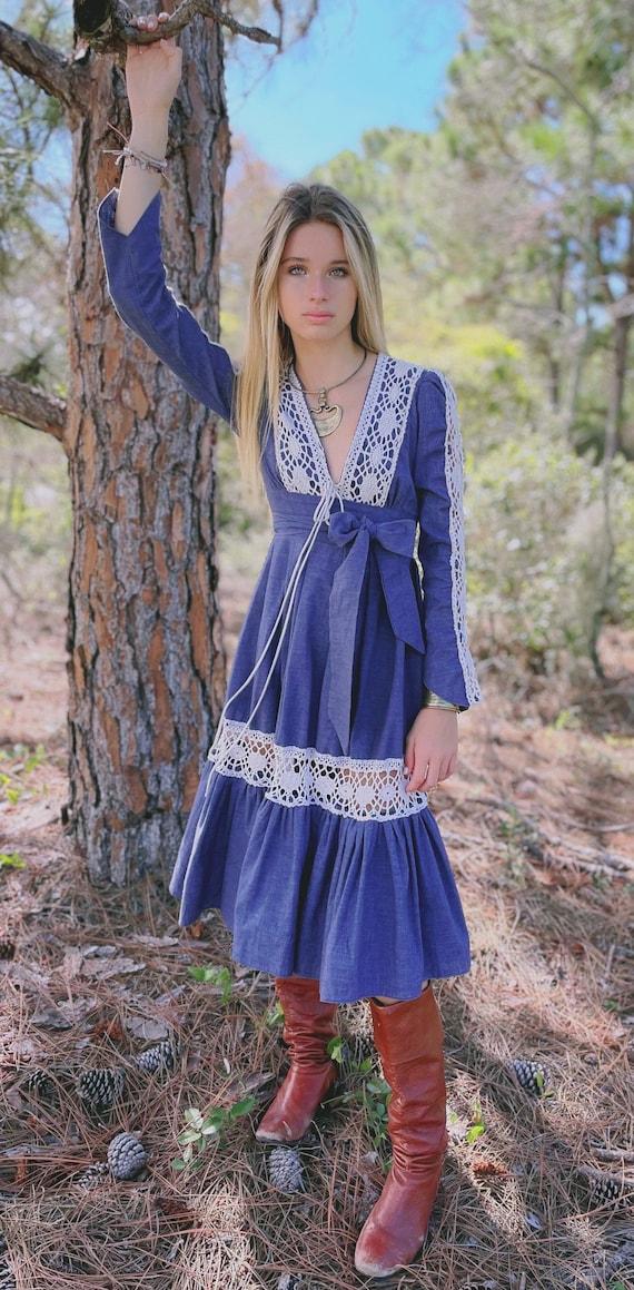 Vintage 70's Gunne Sax Peasant Dress Bohemian Fest
