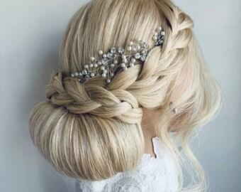 Bridal Crystal and Pearl Hair Vine, Bridal Hair Accessory, Prom Hair, Wedding Hair Accessory, Hair Jewellery