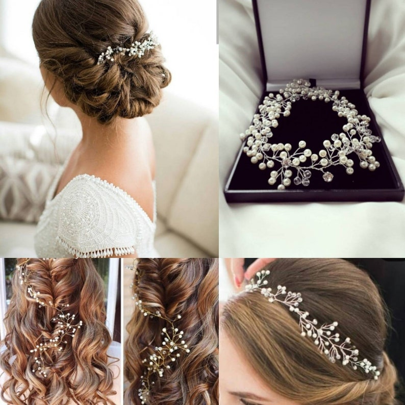 Delicate ivory pearl crystal hair vine wedding accessory image 0