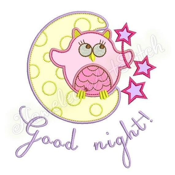 Owl Moon Star Freebie Good Night Machine Embroidery Etsy