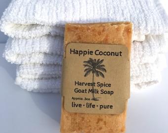 Happie Coconut Harvest Spice Goat Milk Soap - All Natural Soap - Handmade Soap - Handcrafted Soap - Sensitive Skin Soap - Natural Soap