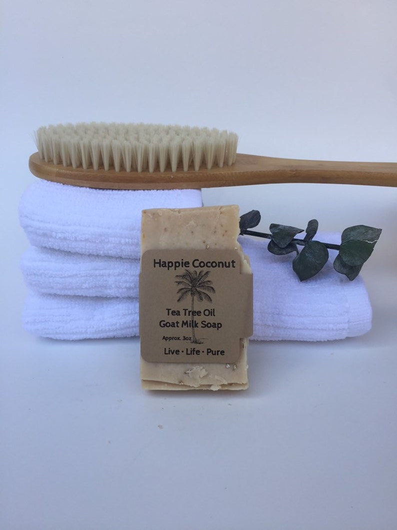 Happie Coconut Tea Tree & Oatmeal Goat Milk Soap  All Natural image 0