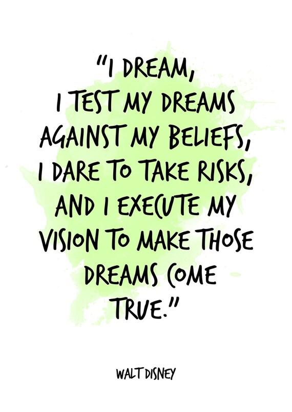 I Dream Walt Disney Quote Walt Disney Watercolor Etsy
