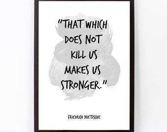 Friedrich Nietzsche, Friedrich Nietzsche Quote, Friedrich Nietzsche Art, Watercolor Quote Poster, Motivational quote, Inspirational quote