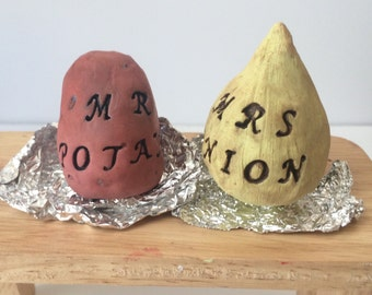 polymer clay food Magnets. Bridal gift. gift for a new couple. Custom lettering available.