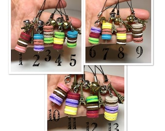 Macaron charms. 1 for 7.50, 3 for 15 dollars, 5 for 20dollars, 10 for 35. Polymer clay miniature macaroons.