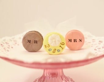 Keepsake polymer clay Magnets, or, cake toppers. Kawaii magnets.Custom Wedding date. For new couple. Wedding gift. Bridal gift idea.