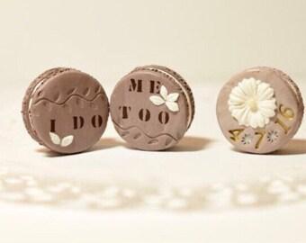 keepsake polymer clay macarons.  can be made as magnets, cake topper or just as keepsake macarons.