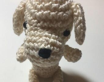 White Crochet dog. Amigurumi