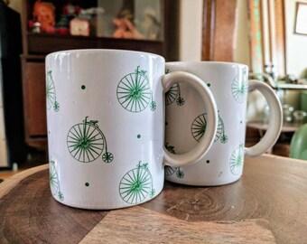 Pair of Green Penny Farthing High Wheel Bicycle Mugs