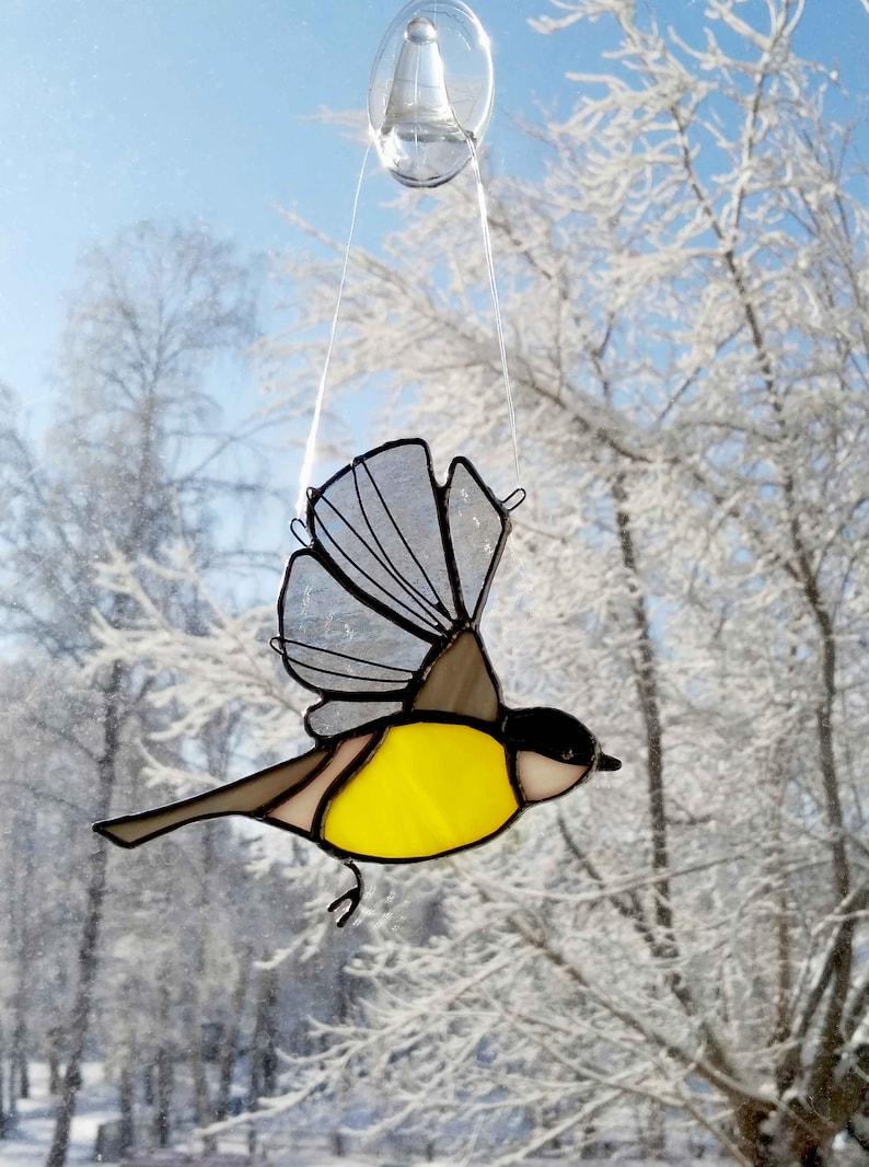 Little yellow chickadee Garden bird on the window Suncatchers Hangings Flying Chickadee Stained Glass Bird Tit