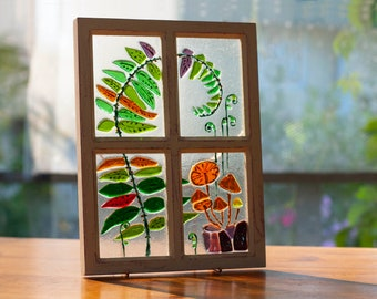 Fused Glass art. Window pane. Stained glass window in frame. Stained glass panel. Country window to my garden. For a garden lover