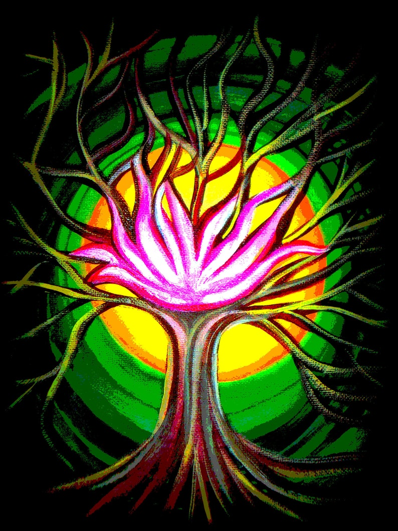 Lotus Flower Tree Of Life Fine Art Print Lotus Flower Etsy