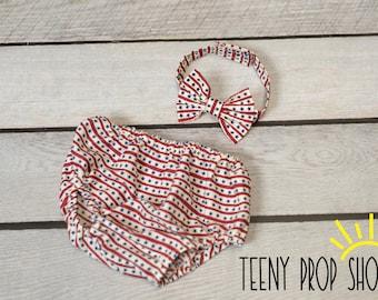 Baby Boy Flag Diaper Cover Set, Baby boy Bloomer, Diaper Cover - 2pc. Diaper Cover, Diaper Cover and Bowtie, Prop, Photography Prop, Tie