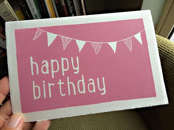 Hand Printed Simple Lino Birthday Card Original Print