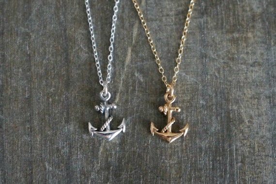 Anchor necklace silver or gold anchor pendant necklace aloadofball Image collections