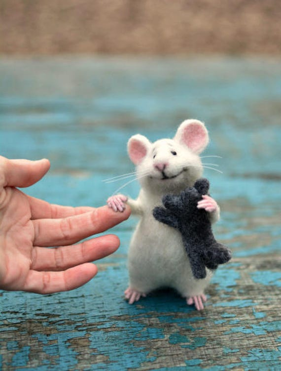 mouse wool mouse white mouse and kitten mouse felt mouse etsy