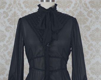 Black Long Sleeve Chiffon Blouse Victorian Steampunk Lolita