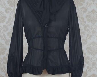 d5e4e5487442aa Black Long Sleeve Chiffon Blouse Victorian Steampunk Lolita