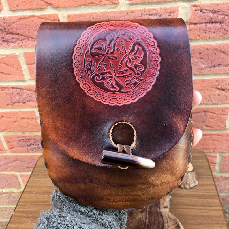 Lovely Rustic Handcrafted Leather Belt Pouch Bag with Antler Toggle /& Nordic Design
