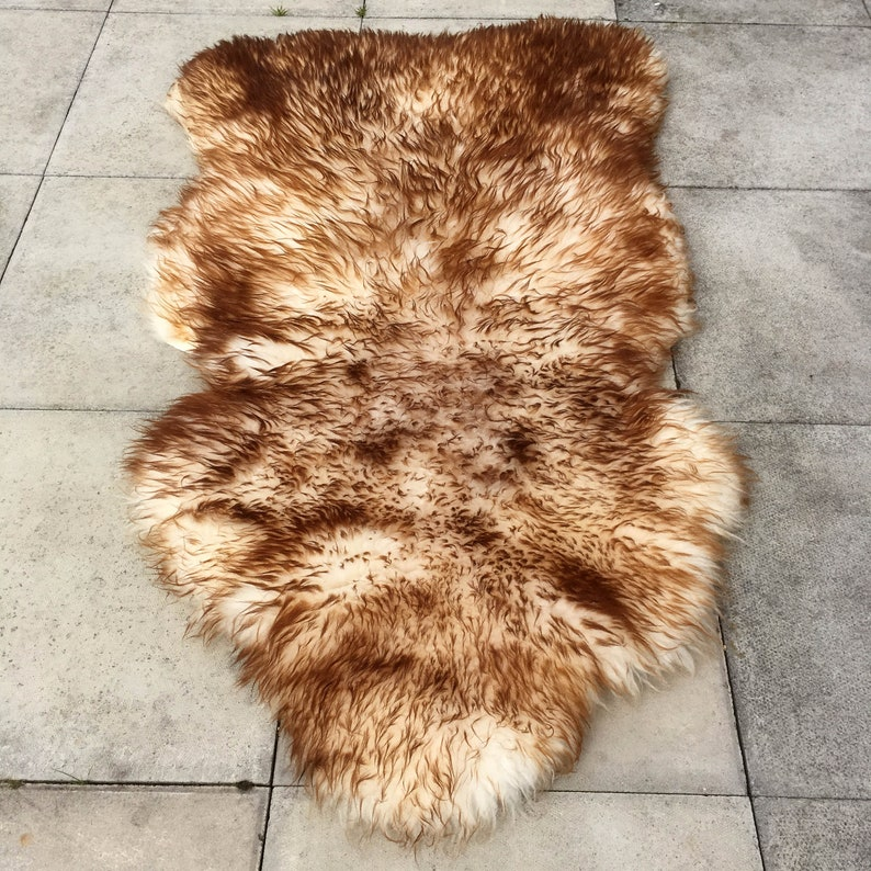 Large Beautiful Brown and Cream Thick Sheepskin Hide Fur Pelt Taxidermy Rug