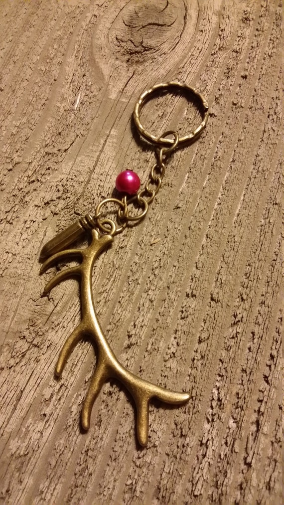 Elk antler keychain with bullet charm  hunting outdoors