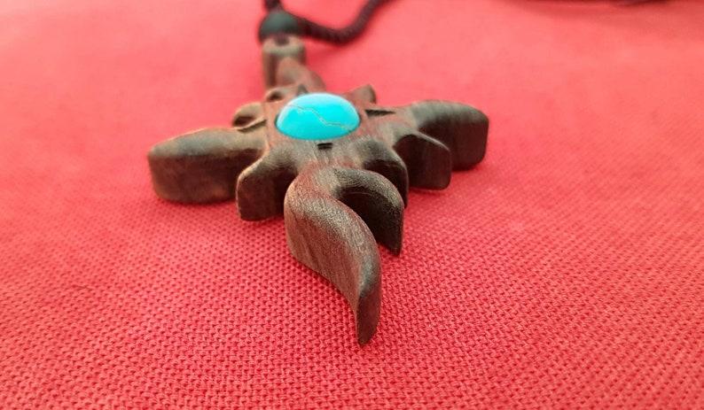 Sandalwood pendant Hanging collar,Wood pendant,Necklace,Pendant,Sandalwood pendant with turquoise,Gift,