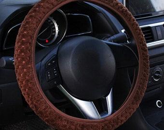 Multi-color Soft Car Steering Wheel Cover Anti-Slip Plush - Car Interior Accessories