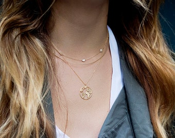 World map necklace etsy single layer globe necklace minimalist jewelry gumiabroncs Gallery
