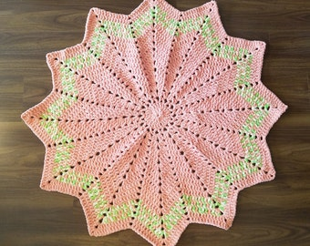 Crochet Baby Blanket Star made from Bernat Blanket Yarn Orange Green and Yellow