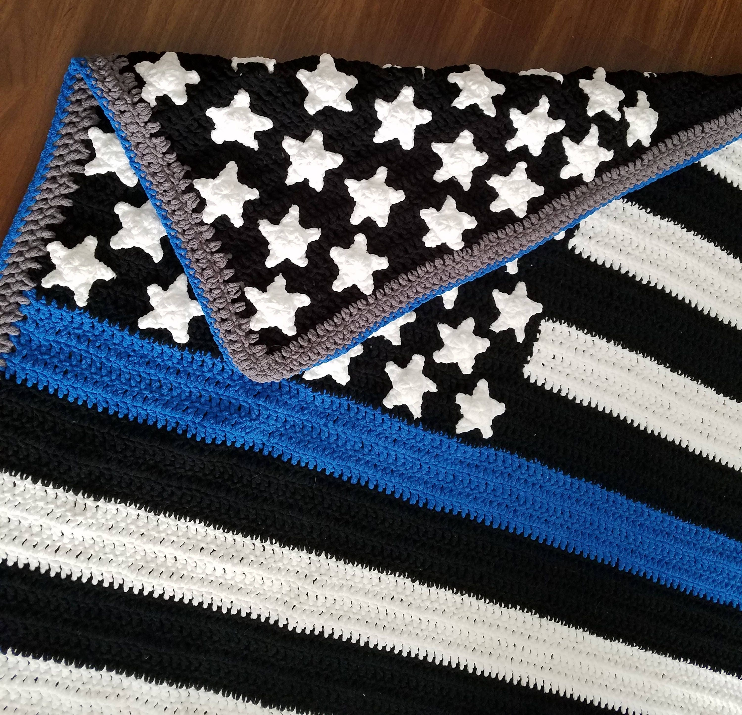 AK Crochet Thin Blue Line Police Flag Blanket PATTERN from ...