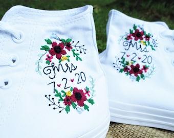 High top Custom Wedding Converse, Floral Embroidered Converse, Custom Chuck Taylors, Custom Bride Shoes, Custom Wedding Shoes, Custom Chucks