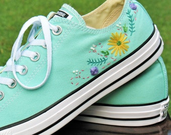 51cefd9695b8 ... buy floral embroidered custom converse custom converse floral converse  wedding converse 793e9 2fb4e ...