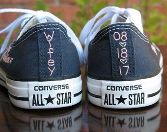 Custom Wedding Converse stitching, Custom Converse, Custom Chuck Taylors, Custom Bride Sneakers, Custom Chucks, shoes not included
